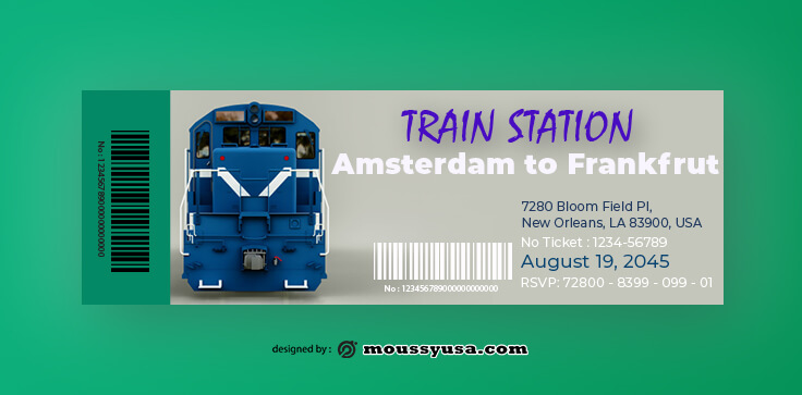 Train Ticket Design PSD