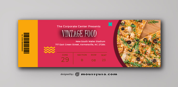Vintage Food Ticket Design PSD