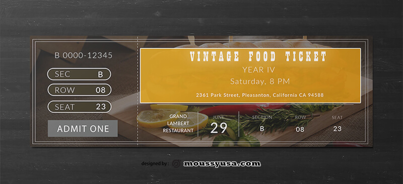 Vintage Food Ticket Design Template