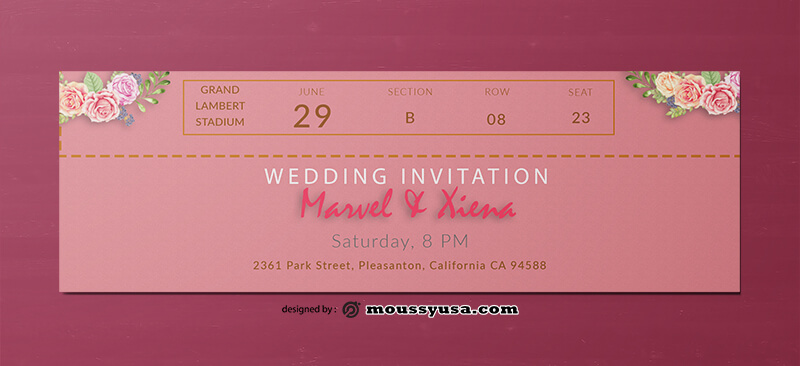Wedding Invitation Ticket Design PSD