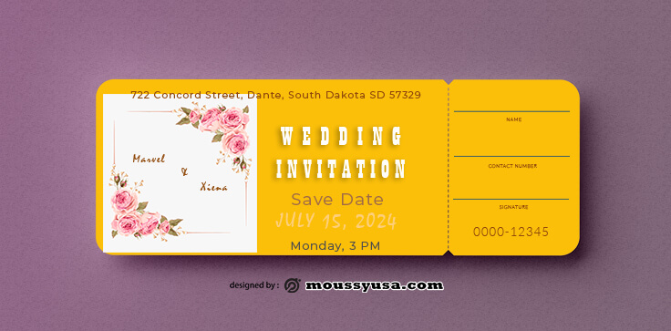 Wedding Invitation Ticket Design Template