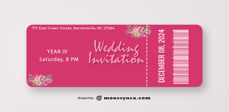 Wedding Ticket Template Sample