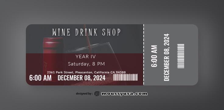 Wine Drink Ticket Template Ideas