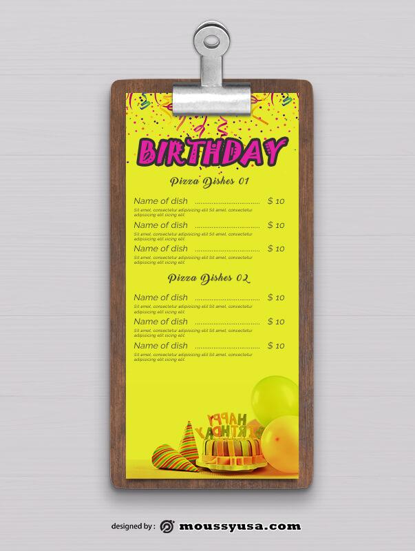 Birthday Menu Design Ideas