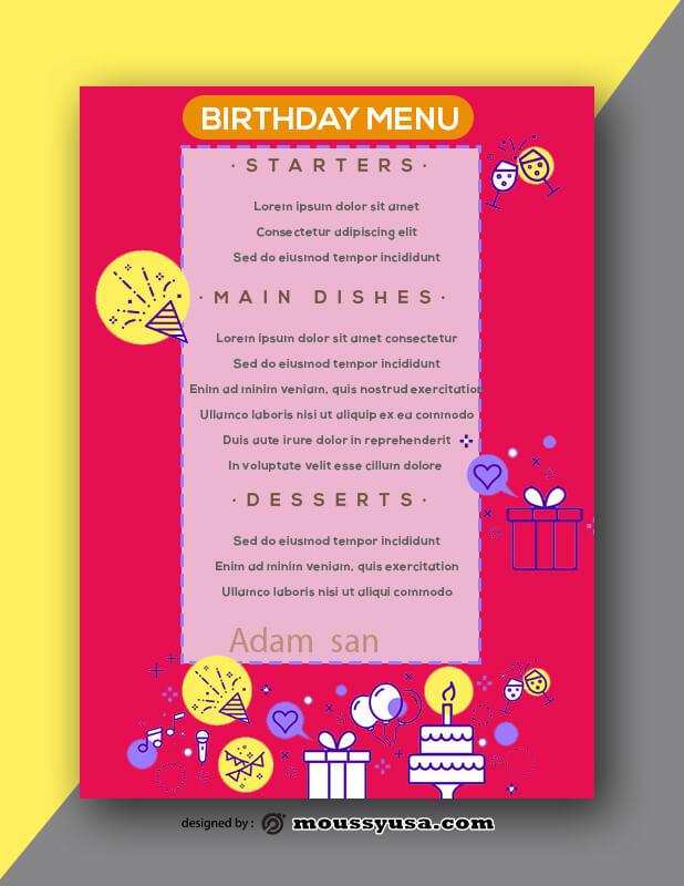 Birthday Menu Design PSD