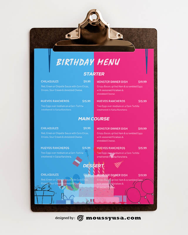 Birthday Menu Design templates