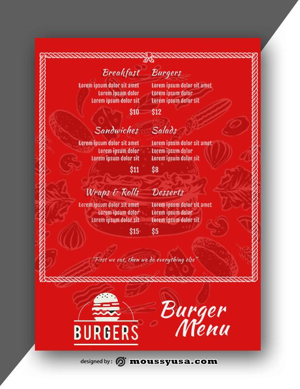Burger Menu Design PSD