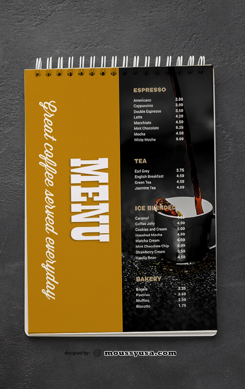 Cafe Coffee Shop Menu templates Ideas