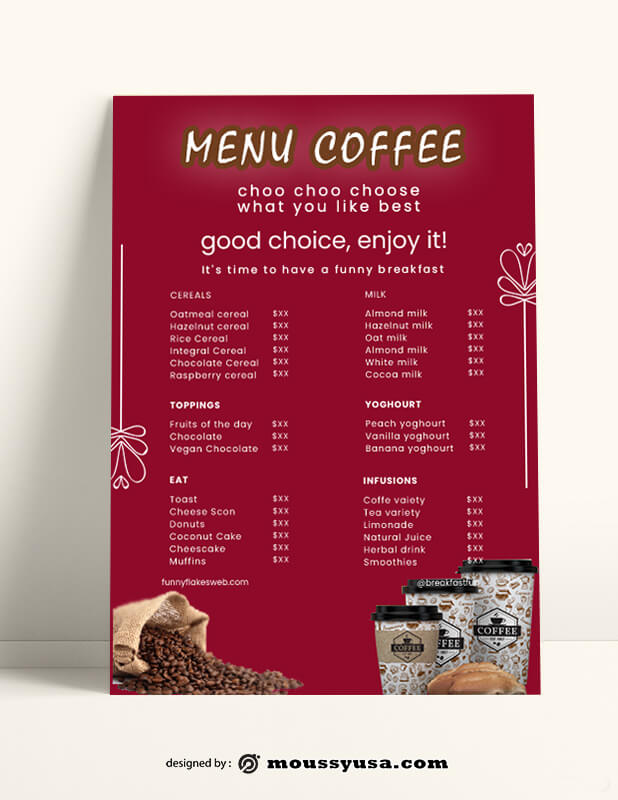 Cafe Coffee Shop Menu templates Sample