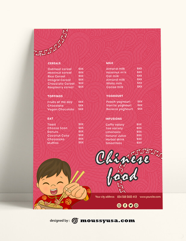 Chinese Food Menu templates Ideas