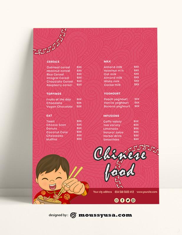 Chinese Food Menu templates Ideas