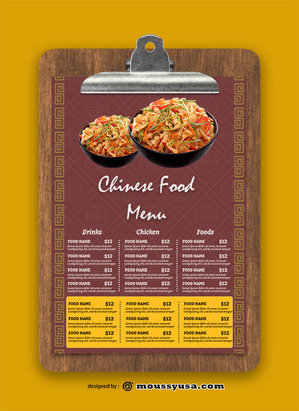 Chinese Food Menu templates Sample