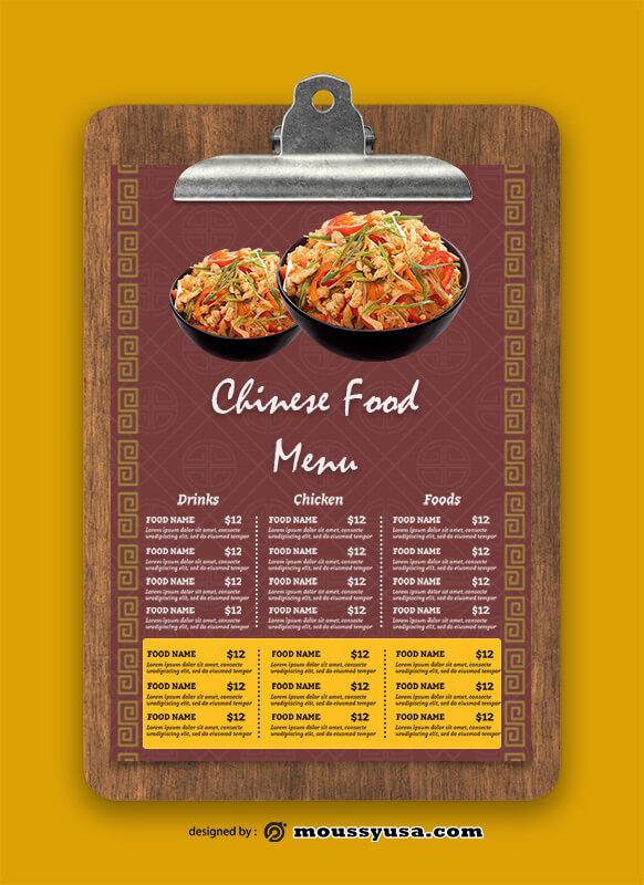 Chinese Food Menu templates Sample