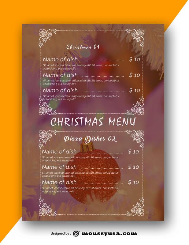 Christmas Menu templates Example