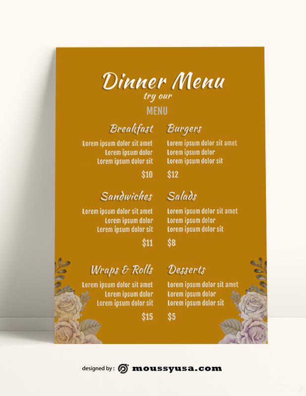 Dinner Menu templates Sample