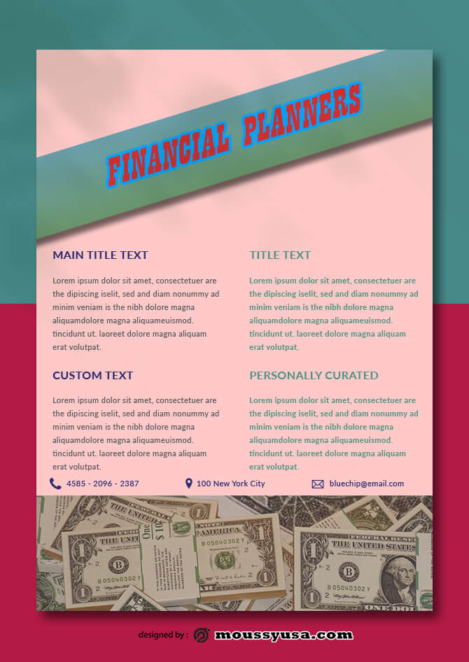 Financial Planners Data Sheet Design PSD