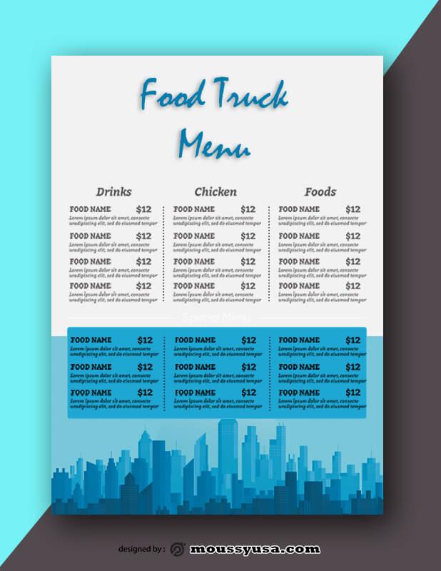 Food Truck Menu Design PSD