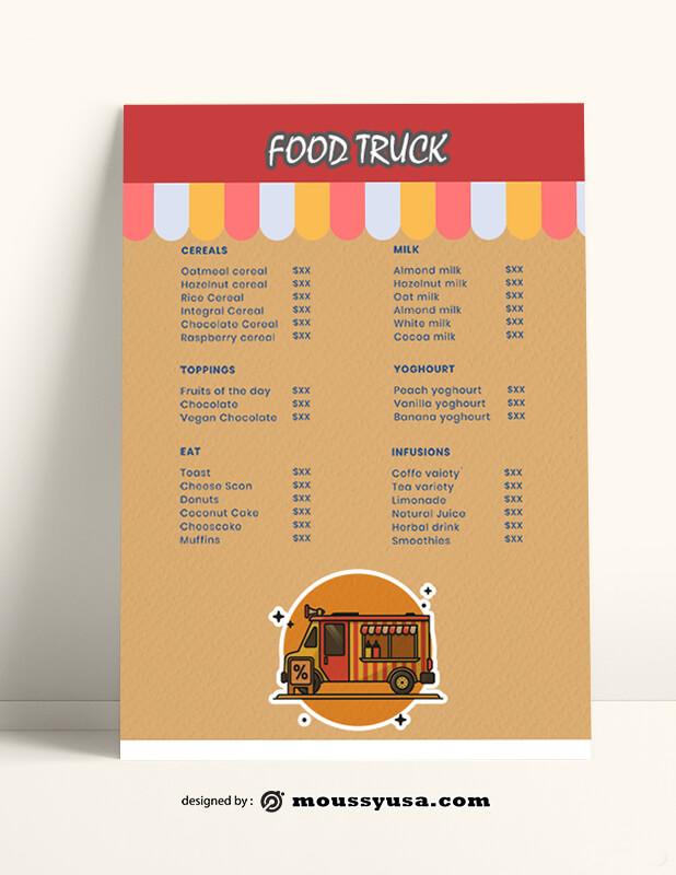 Food Truck Menu templates Example