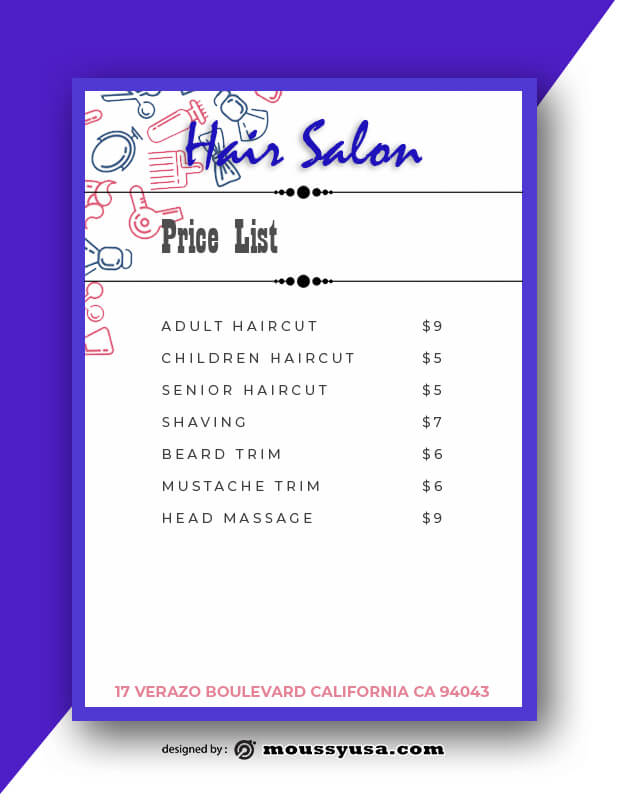Hair Salon Menu Design Ideas