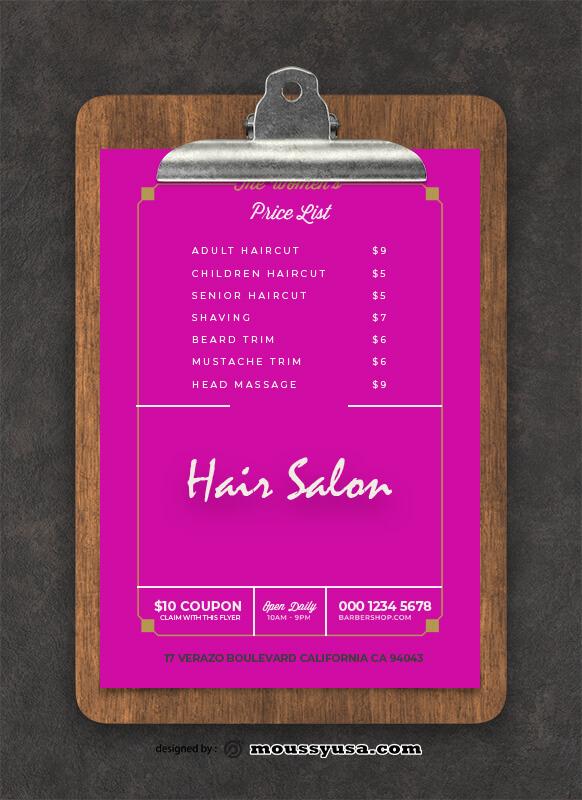 Hair Salon Menu Design templates