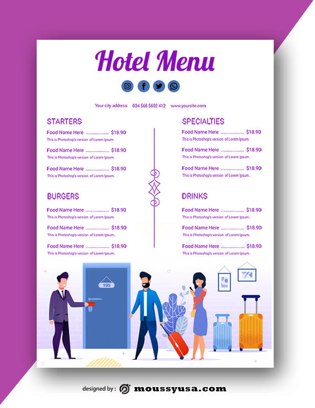 Hotel Menu templates Ideas