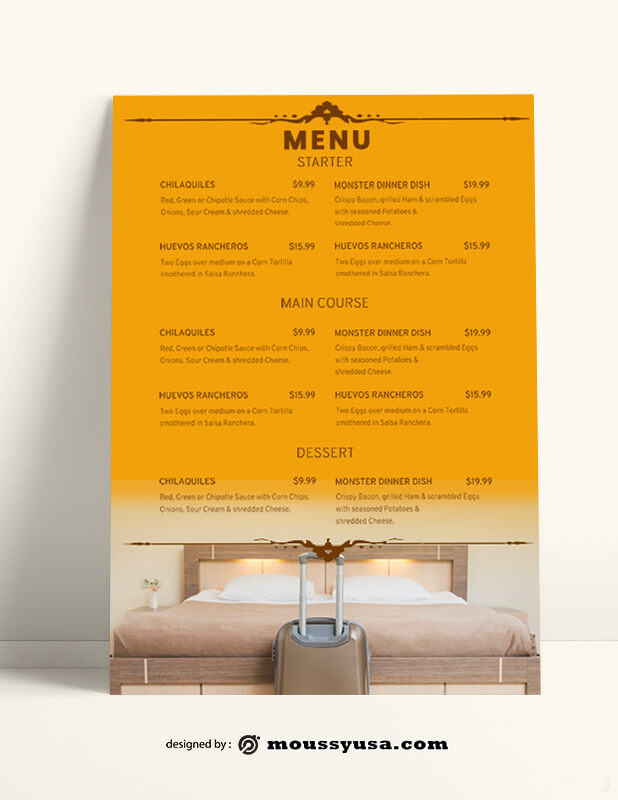 Hotel Menu templates Sample