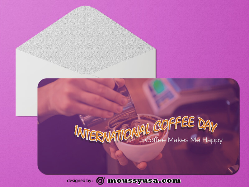 International Coffee Day Greeting Card Design PSD