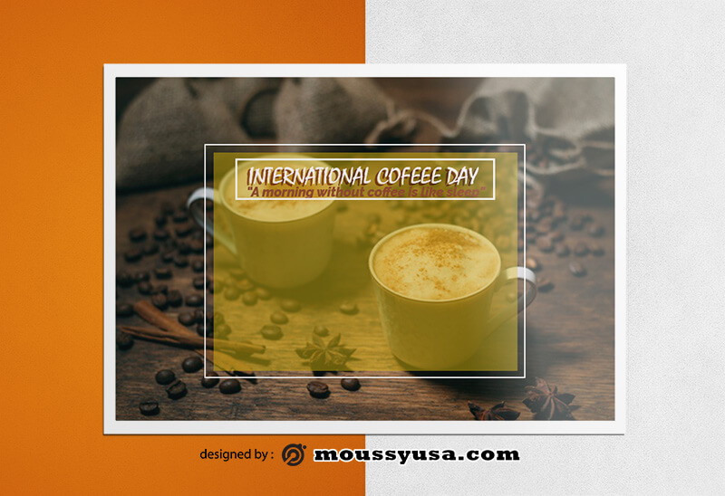 International Coffee Day Greeting Card Design templates