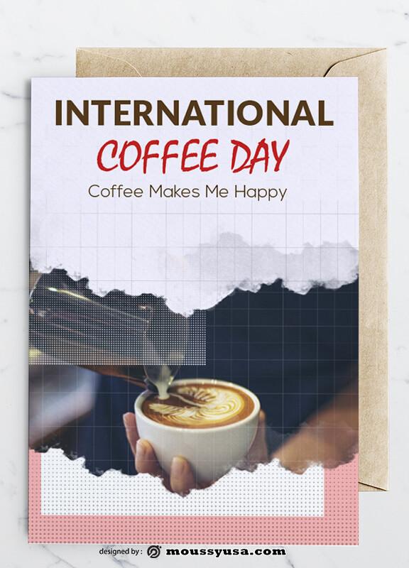 International Coffee Day Greeting Card templates Example