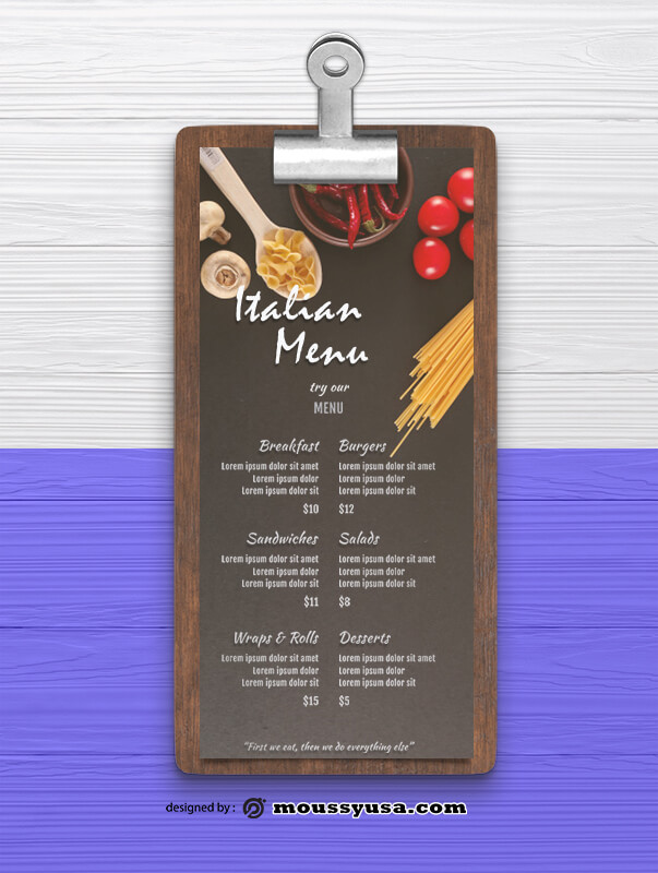Italian Menu Design Ideas