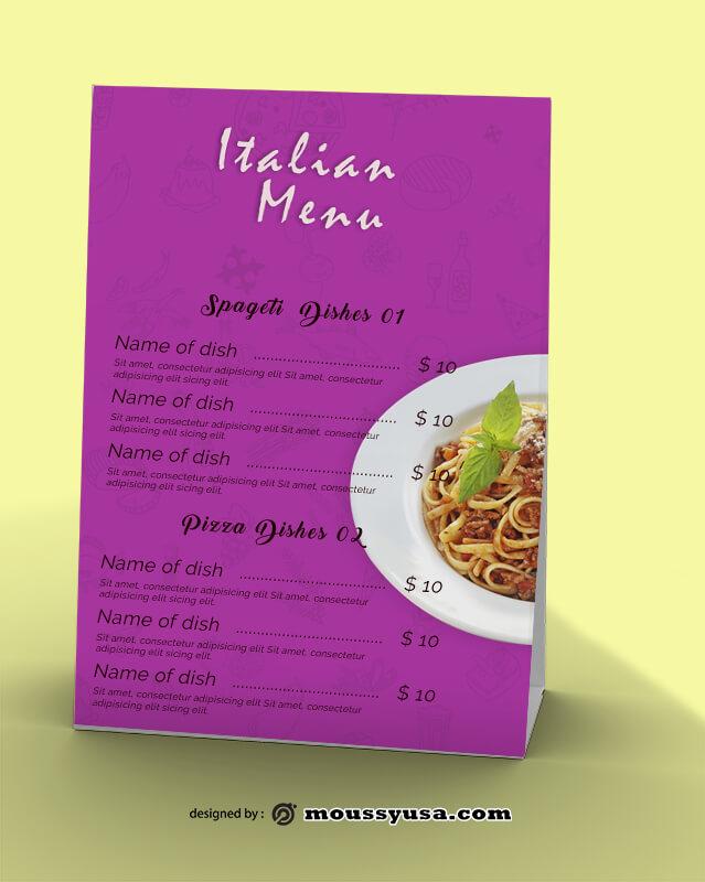 Italian Menu Design PSD