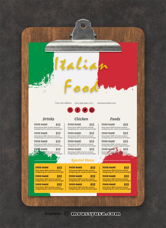 Italian Menu Design templates