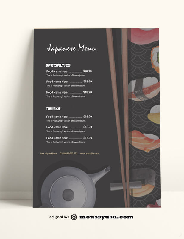 Japanese Menu templates Sample
