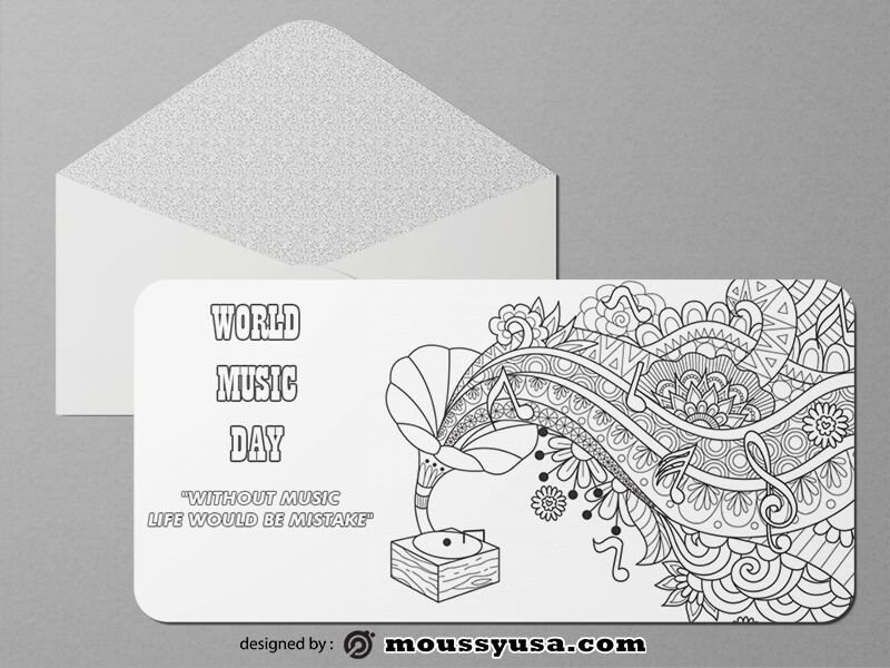 Music Day Greeting Card templates Sample