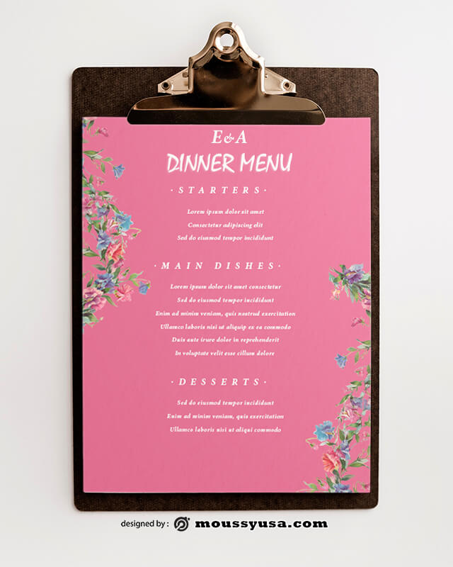 PSD Dinner Menu templates