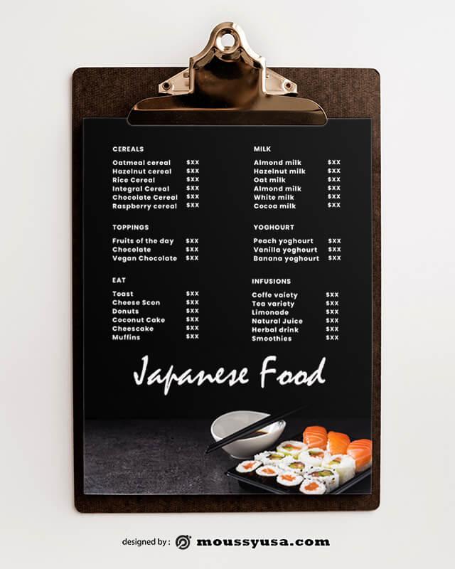 PSD Japanese Menu templates