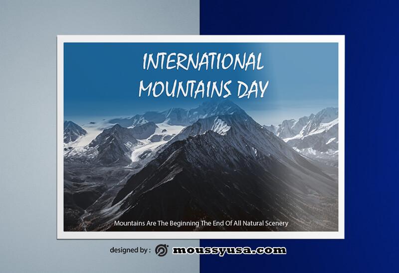 PSD Mountains Greeting Card templates