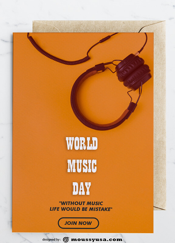 PSD Music Day Greeting Card templates