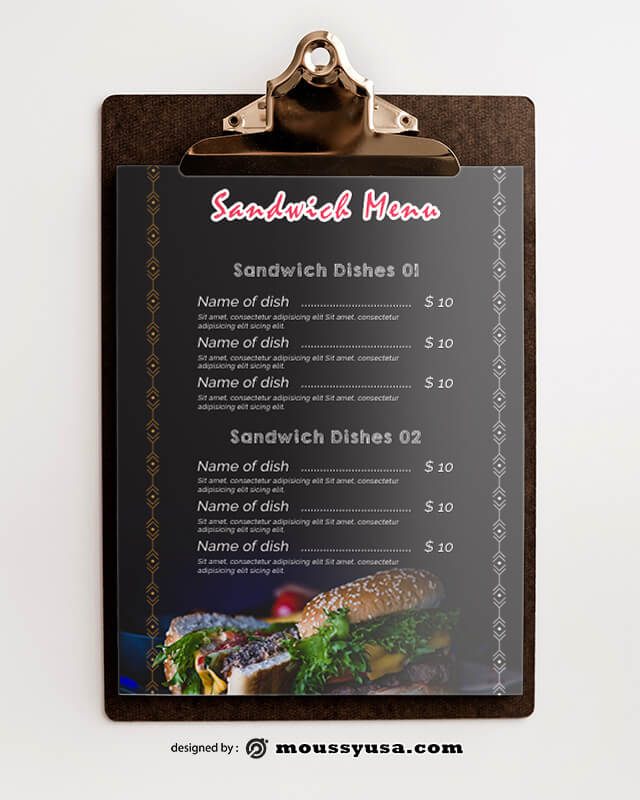 PSD Sandwich Menu templates