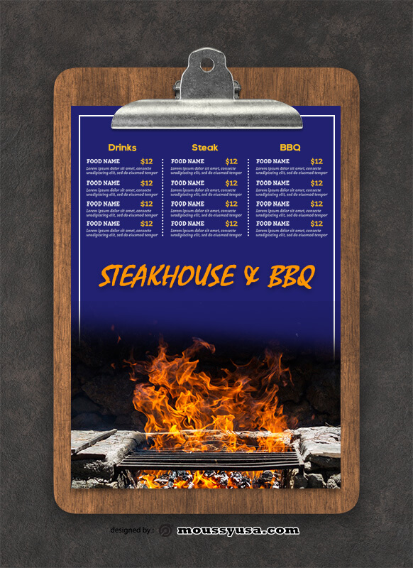 PSD Steakhouse BBQ Menu templates