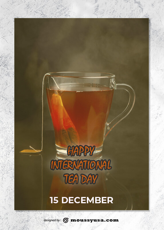PSD Tea Day Greeting Card templates