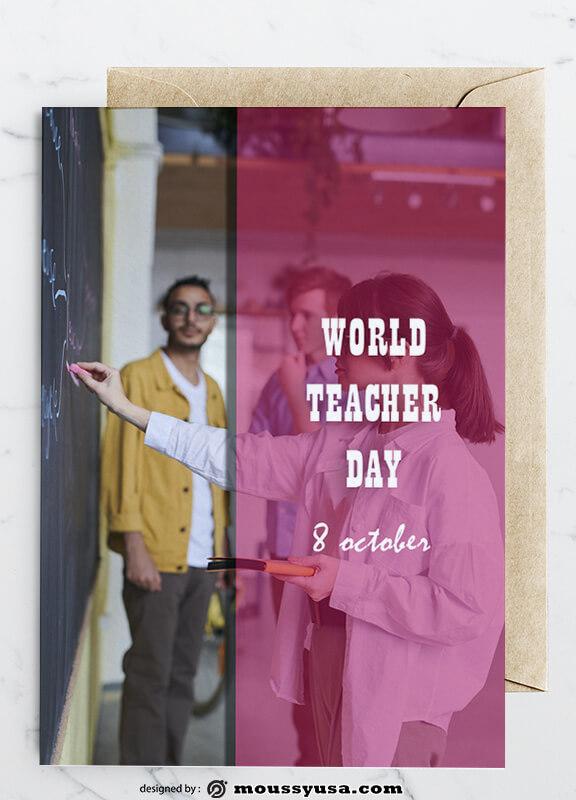 PSD Teacher Day Greeting Card templates