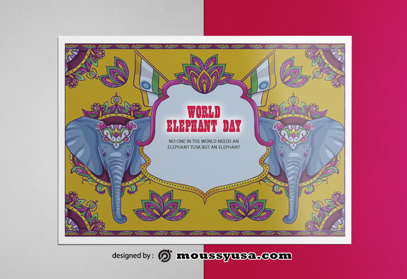 PSD templates For Elephent Greeting Card