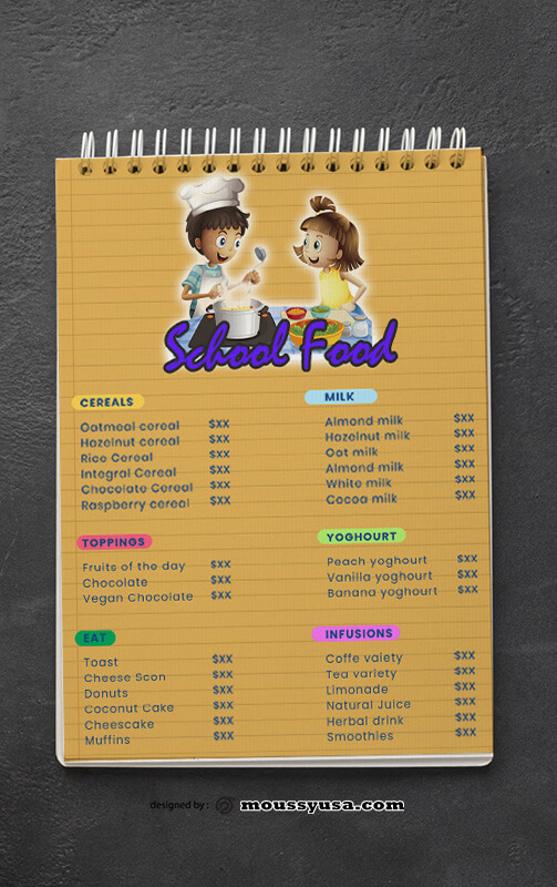 PSD templates For School Menu