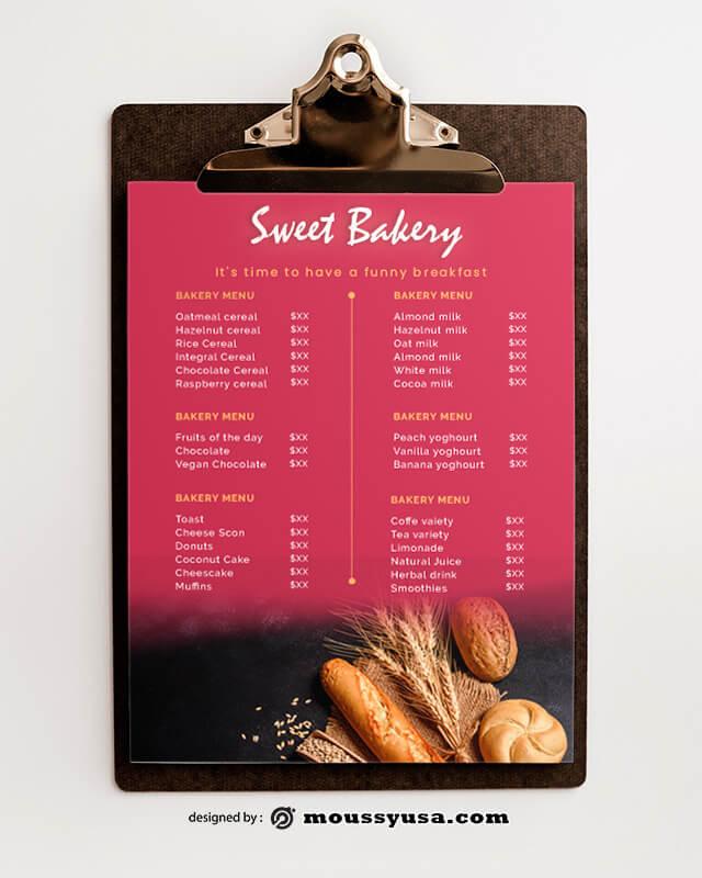 PSD templates For Sweet Bakery Menu