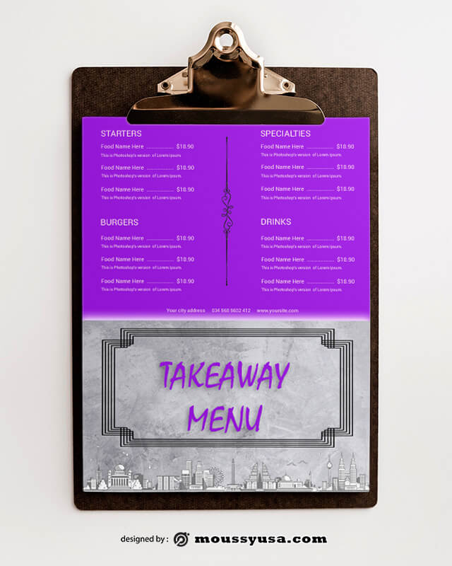 PSD templates For Takeaway Menu