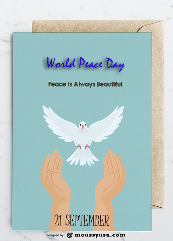 PSD templates For World Peace Day Greeting Card