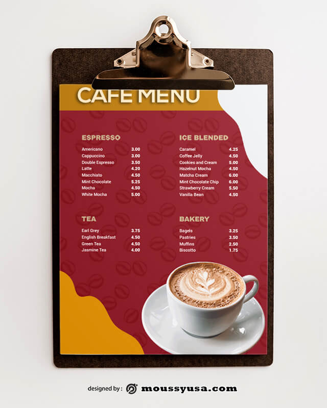 Sample Cafe Coffee Shop Menu templatess