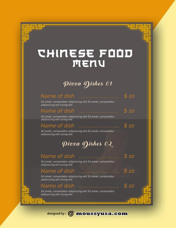 Sample Chinese Food Menu templatess