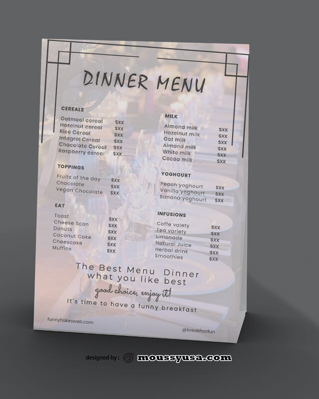 Sample Dinner Menu templatess